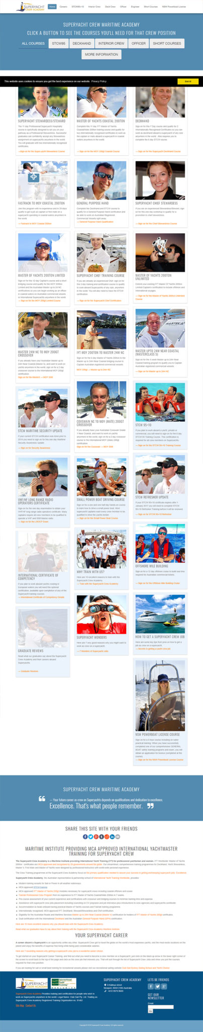 Website Designs For Maritime Institute Crew Training Superyacht